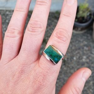 Vintage French 950 Fine Silver Chrysocolla Ring